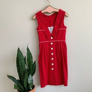 VTG bebe Pinup Style Red & White Polkadot Dress